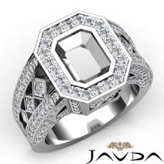 Emerald SemiMount Diamond Engagement Ring Halo Pave Setting 14k White Gold 2.3Ct