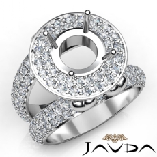Round Shape Diamond Antique Semi Mount Engagement Ring Halo Setting 18k Gold White  (2.25Ct. tw.)