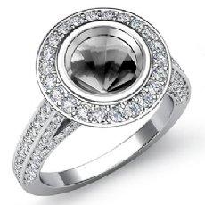 Diamond Engagement Ring Round Cut Semi Mount Bezel Setting 14k White Gold 1.7Ct