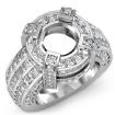 2.9Ct Round Semi Mount Diamond Engagement Halo Pave Setting Ring 14k White Gold - javda.com