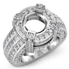 Round Semi Mount Diamond Engagement Halo Pave Setting Ring 18k Gold White (2.9Ct. tw.)