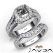 Halo Pave Diamond Bridal Set Engagement Ring Round Semi Mount 14k White Gold 1.9Ct - javda.com