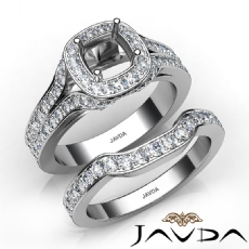 Halo Pave Diamond Bridal Set Engagement Ring Round Semi Mount 14K W Gold 1.9Ct