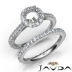 French V Cut Pave Diamond Engagement Ring Round Bridal Sets 14k White Gold 1.5Ct - javda.com