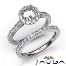 French V Cut Pave Diamond Engagement Ring Round Bridal Sets 14K White Gold 1.5Ct