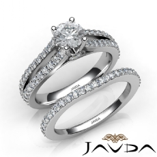 Peekaboo Wedding Bridal Set Round diamond engagement Ring in 14k Gold White