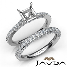 Pave Diamond Engagement Ring Princess Semi Mount Bridal Set 14K W Gold 1.65Ct.
