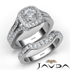 Pave Setting Bridal Set Halo Round diamond engagement Ring in 14k Gold White