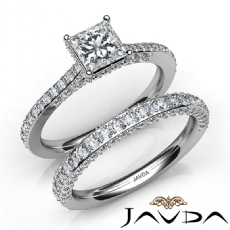 Circa Halo Pave Wedding Set Princess diamond engagement Ring in 14k Gold White
