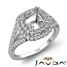 Cushion Semi Mount U Split Diamond Engagement Ring 14k White Gold 1.51 Carat