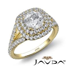 U Prong Double Halo Split Shank Cushion diamond engagement Ring in 14k Gold Yellow