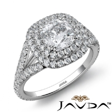 U Prong Double Halo Split Shank Cushion diamond engagement Ring in 14k Gold White