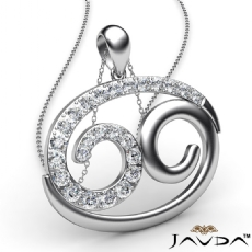 69 Number Pendant 18 Inch Rolo Chain 14k White Gold Round Diamond 0.83Ct
