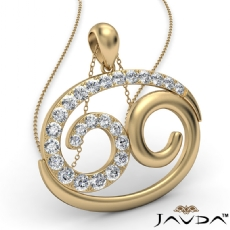 69 Number Pendant 18 Inch Rolo Chain 14k Gold Yellow Round Diamond  (0.83Ct. tw.)
