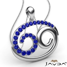 69 Number Pendant 18 Inch Rolo Chain 14k W Gold Round Sapphire Gemstone 0.83Ct