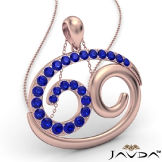 69 Number Pendant 18 Inch Rolo Chain 18k Rose Gold Round Sapphire Gemstone <Dcarat>