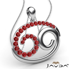 69 Number Pendant 18 Inch Rolo Chain 14k W Gold Round Ruby Gemstone 0.83Ct