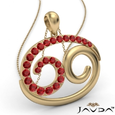69 Number Pendant 18 Inch Rolo Chain 14k Gold Yellow Round Ruby Gemstone <Dcarat>