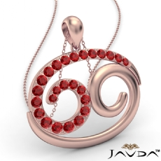 69 Number Pendant 18 Inch Rolo Chain 14k Rose Gold Round Ruby Gemstone <Dcarat>