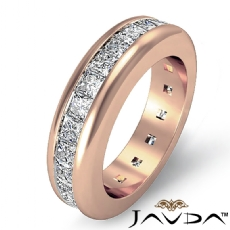 Channel Set Eternity Womens Band Princess Cut Diamond Ring 14k Rose Gold  (2.5Ct. tw.)