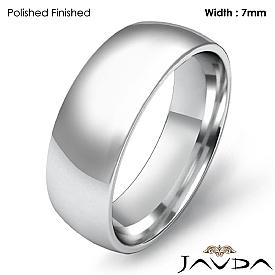 Men Wedding Band Plain Dome Comfort Light Ring 7mm 14k White Gold 6.5g 4sz