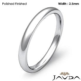 Plain Dome Comfort Ring 2.5mm Men Wedding Solid Band 14k White Gold 2.4g 4z