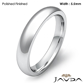 Wedding Band 14k White Gold Mens Dome Comfort Fit Plain Ring 4 mm 5g 4z