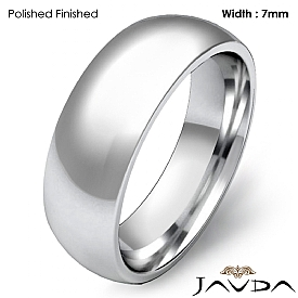14k White Gold 7mm Men Plain Comfort Dome Wedding Band Solid Ring 8.3g 4sz