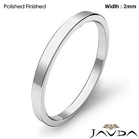 14k White Gold Men Solid Ring 2mm Plain Pipe Cut Flat Wedding Band 1.6g 4sz