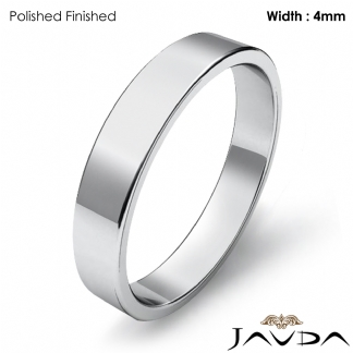 Simple Plain Flat Pipe Cut 4mm Mens Wedding Band Platinum 950 6 4g 9 75