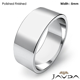 Men Wedding Band Flat Pipe Cut Plain Solid Ring 8mm 14k White Gold 6.4g 4sz