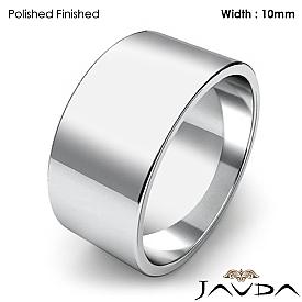 10mm Flat Pipe Cut 14k White Gold Mens Plain Wedding Band Ring 8g 4sz