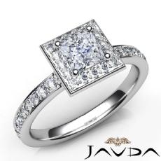 Halo Pave Set Side-Stone Princess diamond engagement Ring in 14k Gold White