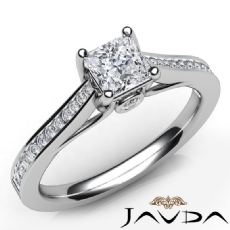 Classic Side Stone Channel Princess diamond engagement Ring in 14k Gold White