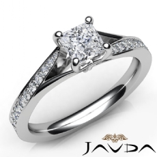 4 Prong Classic Side Stone Princess diamond engagement Ring in 14k Gold White