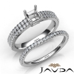 Diamond Engagement Ring Asscher Semi Mount U Cut Bridal Set 14k White Gold 0.8Ct - javda.com
