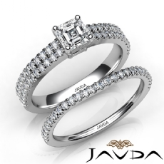 2 Row Shank Bridal Set Asscher diamond engagement Ring in 14k Gold White