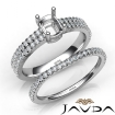 Diamond Engagement Ring Cushion Semi Mount U Cut Bridal Set 14k White Gold 0.8Ct - javda.com
