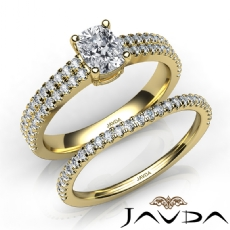 Bridal Set Scalloped Pave Cushion diamond engagement Ring in 14k Gold Yellow