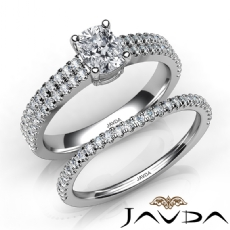 Bridal Set Scalloped Pave Cushion diamond engagement Ring in 14k Gold White