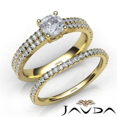 Scalloped Pave Shank Bridal Cushion diamond engagement Ring in 14k Gold Yellow