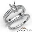 Diamond Engagement Ring Emerald Semi Mount U Cut Bridal Set 14k White Gold 0.8Ct - javda.com