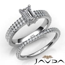 4 Prong French Pave Bridal Set diamond Ring 14k Gold White