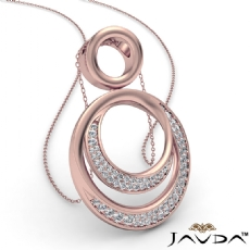 Round Diamond Double Circle Pendant 14k Rose Gold 18 Inch Chain (0.52Ct. tw.)