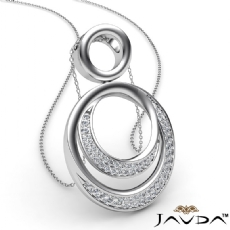 0.52Ct Round Diamond Double Circle Pendant 14k White Gold 18 Inch Chain