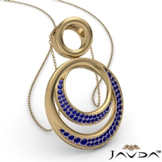 <Dcarat> Round Sapphire Gemstone Double Circle Pendant 14k Gold Yellow 18 Inch Chain