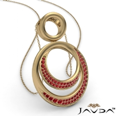 <Dcarat> Round Ruby Gemstone Double Circle Pendant 14k Gold Yellow 18 Inch Chain