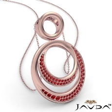 <Dcarat> Round Ruby Gemstone Double Circle Pendant 18k Rose Gold 18 Inch Chain