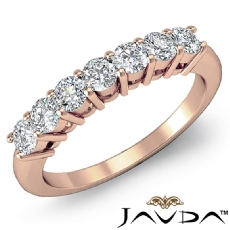 7 Stones Round Cut Diamond Women's Half Wedding Band Ring 14k Rose Gold  (0.7Ct. tw.)