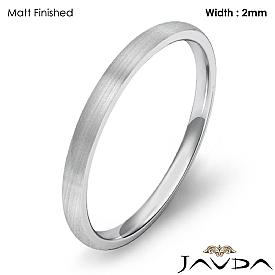 14k White Gold Men Wedding Dome Band 2mm Light Weight Comfort Ring 1.6g 4sz